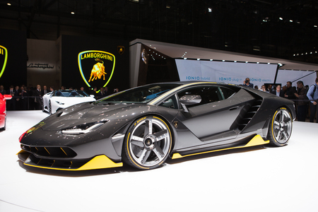 lamborghini: GENEVA, SWITZERLAND - MARCH 1: Geneva Motor Show on March 1, 2016 in Geneva, Lamborghini Centenario, front view