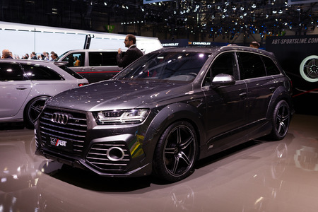 supercharged: GENEVA, SWITZERLAND - MARCH 1: Geneva Motor Show on March 1, 2016 in Geneva, ABT Sportsline Audi Q7, side-front view Editorial