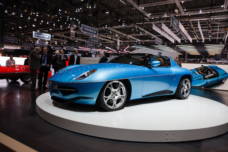 superleggera: GENEVA, SWITZERLAND - MARCH 1: Geneva Motor Show on March 1, 2016 in Geneva, Touring Superleggera Disco Volante Spyder, front-side view