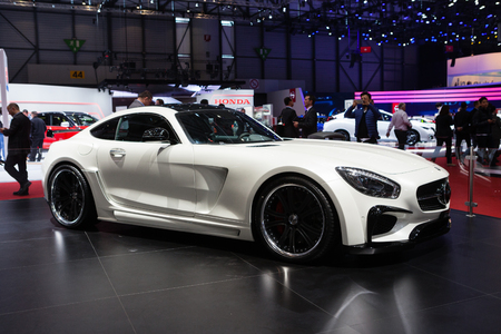 GENEVA, SWITZERLAND - MARCH 1: Geneva Motor Show on March 1, 2016 in Geneva, FAB Design Mercedes-AMG GT, side-front view