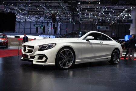 GENEVA, SWITZERLAND - MARCH 1: Geneva Motor Show on March 1, 2016 in Geneva, FAB Design Mercedes Benz S-Class Coupe, side-front view Editorial