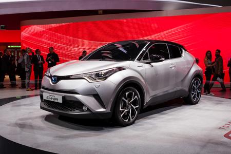 chr: GENEVA, SWITZERLAND - MARCH 1: Geneva Motor Show on March 1, 2016 in Geneva, Toyota CH-R, rear-side view Editorial
