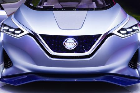 geneva: GENEVA, SWITZERLAND - MARCH 1: Geneva Motor Show on March 1, 2016 in Geneva, Nissan IDS Concept, front view