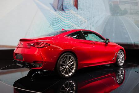 infiniti: GENEVA, SWITZERLAND - MARCH 1: Geneva Motor Show on March 1, 2016 in Geneva, Infiniti Q60, rear-side view Editorial
