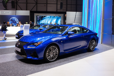 supercharged: GENEVA, SWITZERLAND - MARCH 1: Geneva Motor Show on March 1, 2016 in Geneva, Lexus RC F, front-side view
