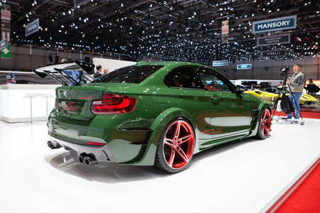 ac: GENEVA, SWITZERLAND - MARCH 1: Geneva Motor Show on March 1, 2016 in Geneva, AC Schnitzer ACL2, rear-side view