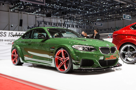 supercharged: GENEVA, SWITZERLAND - MARCH 1: Geneva Motor Show on March 1, 2016 in Geneva, AC Schnitzer ACL2, front-side view Editorial