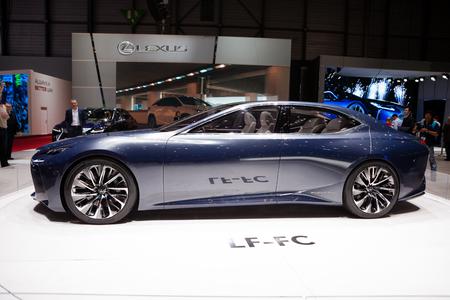 lexus: GENEVA, SWITZERLAND - MARCH 1: Geneva Motor Show on March 1, 2016 in Geneva, Lexus LF-FC Concept, side view