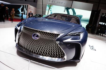 lexus: GENEVA, SWITZERLAND - MARCH 1: Geneva Motor Show on March 1, 2016 in Geneva, Lexus LF-FC Concept, front view