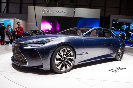 lexus auto: GENEVA, SWITZERLAND - MARCH 1: Geneva Motor Show on March 1, 2016 in Geneva, Lexus LF-FC Concept, front-side view Editorial