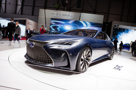 lexus: GENEVA, SWITZERLAND - MARCH 1: Geneva Motor Show on March 1, 2016 in Geneva, Lexus LF-FC Concept, front-side view Editorial