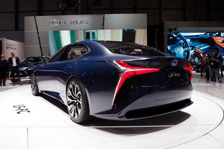 lexus: GENEVA, SWITZERLAND - MARCH 1: Geneva Motor Show on March 1, 2016 in Geneva, Lexus LF-FC Concept, rear-side view