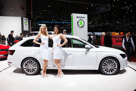 superb: Geneva, Switzerland - March 1, 2016: Skoda Superb Estate, front-side view presented on the 86th Geneva Motor Show in the PalExpo