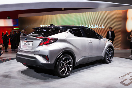 chr: Geneva, Switzerland - March 1, 2016: Toyota CH-R, rear-side view presented on the 86th Geneva Motor Show in the PalExpo