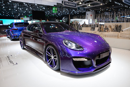 supercharged: Geneva, Switzerland - March 1, 2016: TechArt Grand GT based on Porsche Panamera Turbo, front-side view presented on the 86th Geneva Motor Show in the PalExpo