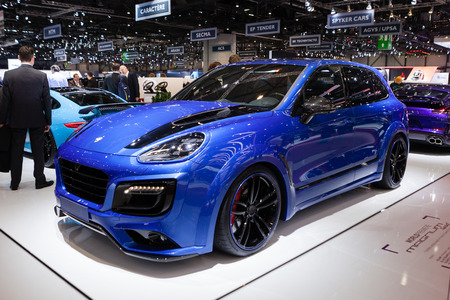 supercharged: Geneva, Switzerland - March 1, 2016: TechArt Magnum based on Porsche Cayenne, side-front view presented on the 86th Geneva Motor Show in the PalExpo