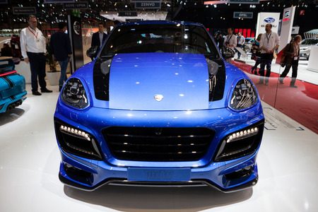 supercharged: Geneva, Switzerland - March 1, 2016: TechArt Magnum based on Porsche Cayenne, front view presented on the 86th Geneva Motor Show in the PalExpo Editorial
