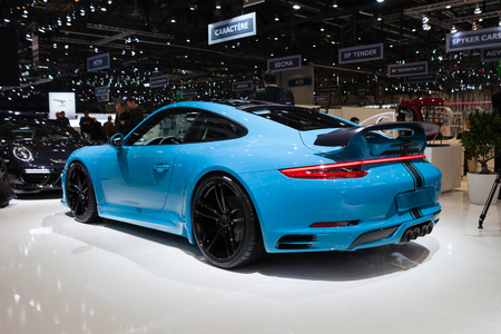 supercharged: Geneva, Switzerland - March 1, 2016: TechArt Porsche 911 Turbo, rear-side view presented on the 86th Geneva Motor Show in the PalExpo