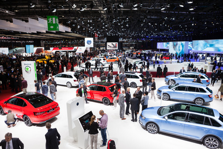 Geneva, Switzerland - March 1, 2016: Skoda and Volkswagen stand wide view on the 86th Geneva Motor Show in the PalExpo Editorial