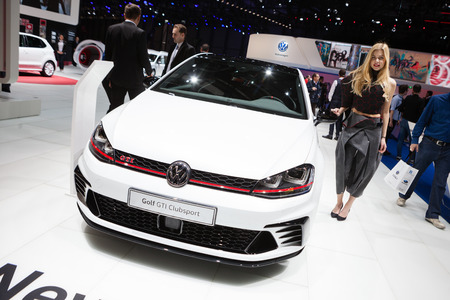 Geneva, Switzerland - March 1, 2016: Volkswagen Golf GTI Clubsport, side-front view presented on the 86th Geneva Motor Show in the PalExpo