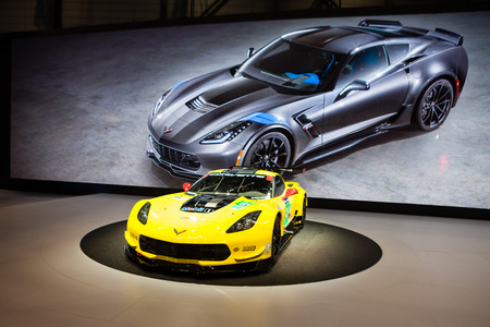 corvette: Geneva, Switzerland - March 1, 2016: Chevrolet Corvette Z06, front-side view presented on the 86th Geneva Motor Show in the PalExpo