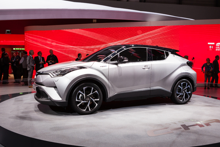 chr: Geneva, Switzerland - March 1, 2016: Toyota CH-R, front-side view presented on the 86th Geneva Motor Show in the PalExpo
