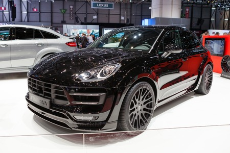 supercharged: Geneva, Switzerland - March 1, 2016: Hamann Porsche Macan, side-front view presented on the 86th Geneva Motor Show in the PalExpo