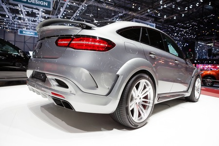 supercharged: Geneva, Switzerland - March 1, 2016: Hamann Mercedes-Benz GLE Coupe, rear-side view presented on the 86th Geneva Motor Show in the PalExpo