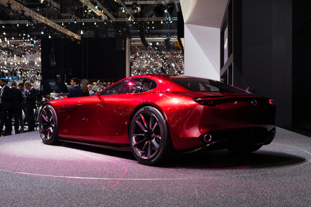 mazda: Geneva, Switzerland - March 1, 2016: Mazda RX-Vison Concept, rear-side view presented on the 86th Geneva Motor Show in the PalExpo Editorial