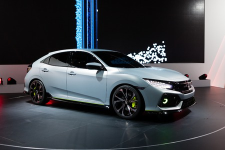prototype: Geneva, Switzerland - March 1, 2016: Honda Civic Prototype, front-side view presented on the 86th Geneva Motor Show in the PalExpo Editorial