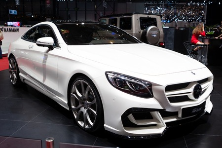 supercharged: Geneva, Switzerland - March 1, 2016: FAB Design Mercedes Benz S-Class Coupe, side-front view presented on the 86th Geneva Motor Show in the PalExpo Editorial