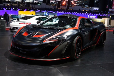 supercharged: Geneva, Switzerland - March 1, 2016: FAB Design McLaren 650S, side-front view presented on the 86th Geneva Motor Show in the PalExpo Editorial