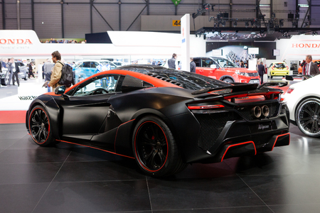 supercharged: Geneva, Switzerland - March 1, 2016: FAB Design McLaren 650S, rear-side view presented on the 86th Geneva Motor Show in the PalExpo