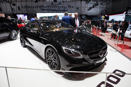 supercharged: GENEVA, SWITZERLAND - MARCH 1: Geneva Motor Show on March 1, 2016 in Geneva, Brabus Mercedes Benz S-Class Coupe, front-side view