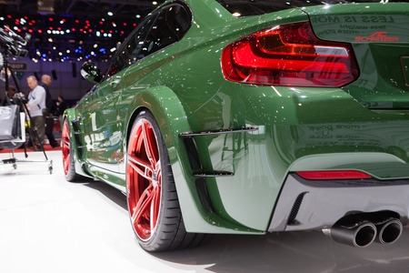 ac: GENEVA, SWITZERLAND - MARCH 1: Geneva Motor Show on March 1, 2016 in Geneva, AC Schnitzer ACL2, rear light closeup view