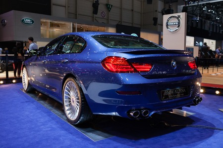 supercharged: GENEVA, SWITZERLAND - MARCH 1: Geneva Motor Show on March 1, 2016 in Geneva, BMW Alpina B6 Bi-turbo Gran Coupe, rear-side view