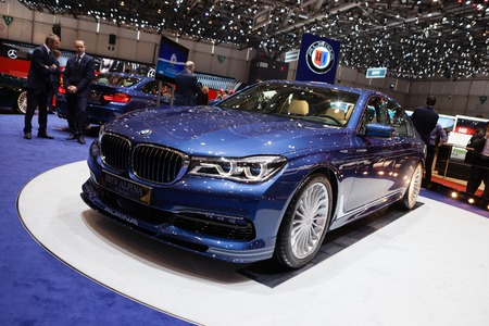 supercharged: GENEVA, SWITZERLAND - MARCH 1: Geneva Motor Show on March 1, 2016 in Geneva, BMW Alpina B7 Bi-turbo, front-side view Editorial