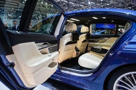 GENEVA, SWITZERLAND - MARCH 1: Geneva Motor Show on March 1, 2016 in Geneva, BMW Alpina B7 Bi-turbo, rear seat interior view