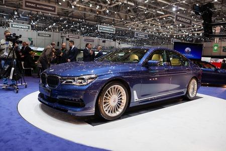 GENEVA, SWITZERLAND - MARCH 1: Geneva Motor Show on March 1, 2016 in Geneva, BMW Alpina B7 Bi-turbo, front-side view Editorial
