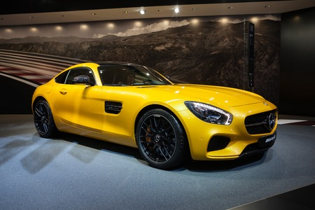 supercharged: GENEVA, SWITZERLAND - MARCH 1: Geneva Motor Show on March 1, 2016 in Geneva, Mercedes-AMG GT, side-front view Editorial