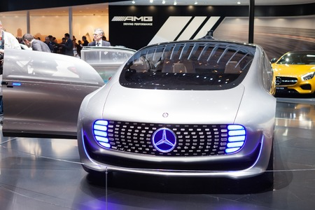 motor vehicle: GENEVA, SWITZERLAND - MARCH 1: Geneva Motor Show on March 1, 2016 in Geneva, Mercedes-Benz F 015 Concept Vehicle, front view Editorial