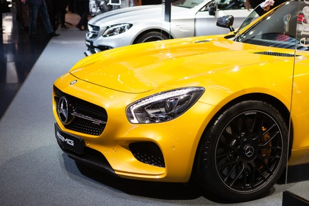 supercharged: GENEVA, SWITZERLAND - MARCH 1: Geneva Motor Show on March 1, 2016 in Geneva, Mercedes-AMG GT, front view