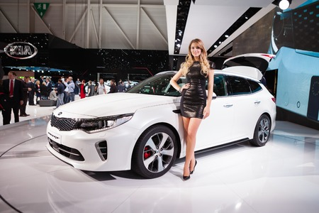 supercharged: GENEVA, SWITZERLAND - MARCH 1: Geneva Motor Show on March 1, 2016 in Geneva, Peugeot 308R, side-front view Editorial