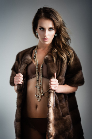 Beautiful Girl In Black Fur Coat Stock Photos & Pictures. Royalty ...