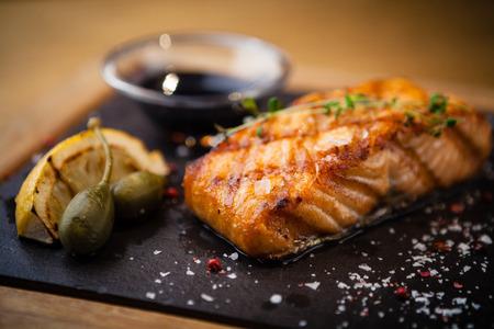 fish sauce: Grilled Scottish salmon Stock Photo