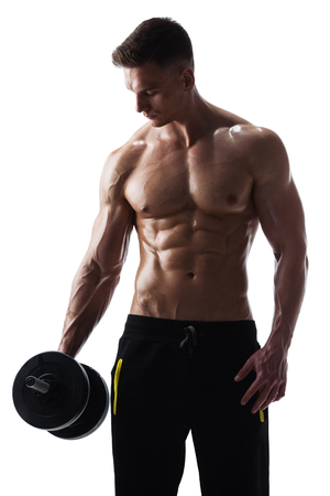 Athletic shirtless male with dumbbells on white background Stock Photo - 116350470