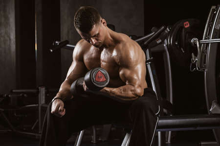 Fitness in gym, sport and healthy lifestyle concept. Handsome athletic man with torso making exercises. Bodybuilder male model training biceps muscles with dumbbell Foto de archivo