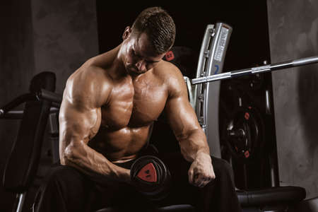 Fitness in gym, sport and healthy lifestyle concept. Handsome athletic man with torso making exercises. Bodybuilder male model training biceps muscles with dumbbell