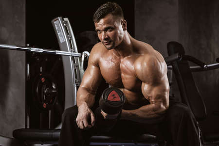 Fitness in gym, sport and healthy lifestyle concept. Handsome athletic man with torso making exercises. Bodybuilder male model training biceps muscles with dumbbell Standard-Bild