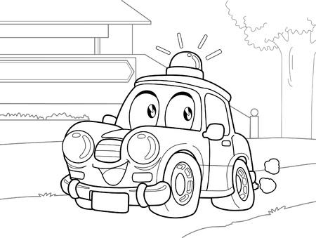 illus: Polic car cartoon